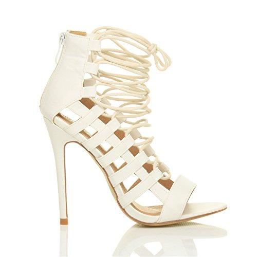 Ajvani Correa De Tacón Alto Para Mujer Gladiador Rhinumerore Cadenas Sandalias Zapatos Blanco Número Matt