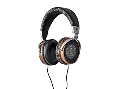 MONOPRICE Monolith M600 Over Ear Headphones - Black/Wood With 50mm Driver, Open Back Design, Light Weight, And Comfort Ear Pads
