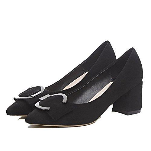 à Pointu Unie VogueZone009 Talon Légeres Noir Suédé Correct Couleur Chaussures Femme CtCq4