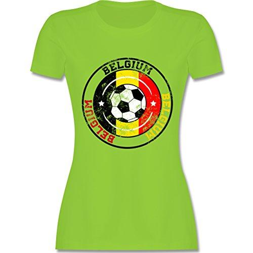 EM 2016 - Frankreich - Belgium Kreis & Fußball Vintage - tailliertes Premium T-Shirt mit Rundhalsausschnitt für Damen Hellgrün