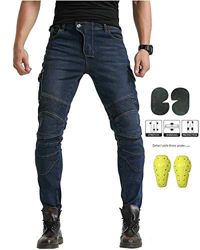 GELing Uomo moto motocicletta protezione pantaloni antivento pantaloni per tutte le stagioni con protezioni,Blu,3XL