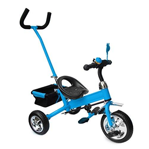 Kinderdreirad mit blau, Kinderfahrrad, Korb, drehbare Lenkstange SERVOLENKUNG mit Steuerung, Beinstellen, Dreiräder, , Model 5903