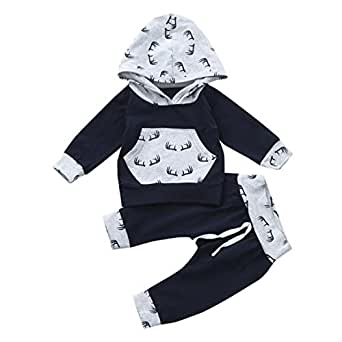 SHOBDW Boys Clothing Sets, Baby Boy Girl Print Hoodie Tops + Pants Toddler Outfits Clothes (0-6 Months, Gray)