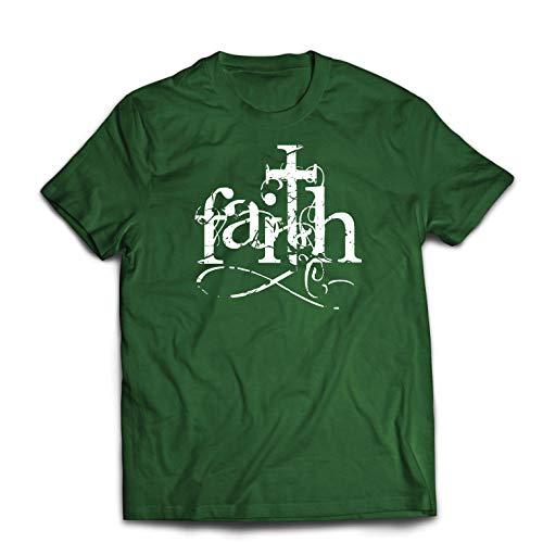 lepni.me Männer T-Shirt Der Glaube an den Gott Jesus Christus - Symbol des christlichen Kreuzes (Large Dunkelgrün Mehrfarben) (Happy Christus Birthday Jesus)