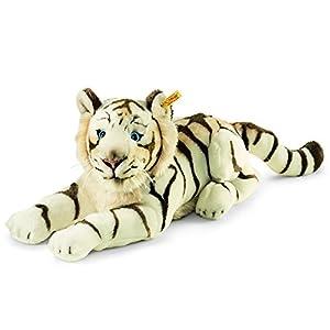 Steiff 066153Bharat-Tigre de Peluche (Tumbado, 43cm), Color Blanco