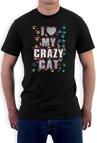 I Love My Crazy Cat funny Motiv T-Shirt Schwarz