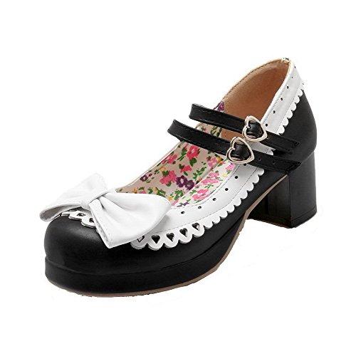 AgooLar Femme Pu Cuir Couleurs Mélangées Boucle Rond à Talon Correct Chaussures Légeres Noir