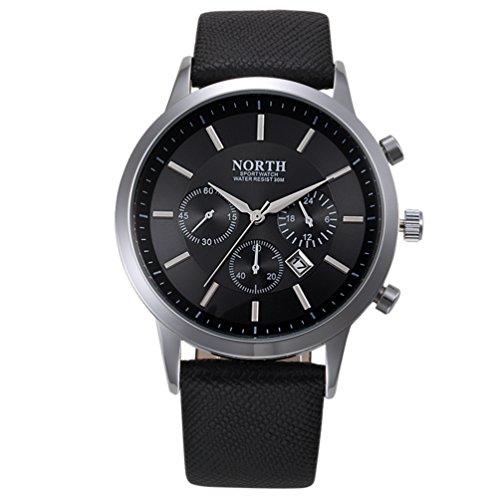 Herren Echt Leder Band Quartz Uhr, yustar Casual Business Wasserdicht Analog Quarz Armbanduhr mit Datum Kalender M schwarz (Telefon Verizon Wasserdicht)