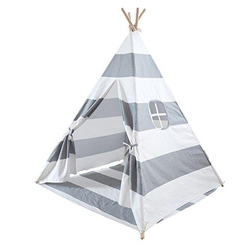 ... Aus 100% Natürlich Baumwolle Segeltuch Indianer Spielhaus Zelt, Innen  Draussen Kinderzimmer Spielzeug Für Babys Mädchen Jungen, Grau Streifen
