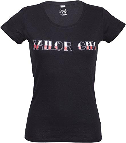 Küstenluder TATTOO Sailor Girl T-Shirt Oldschool Schwarz Rockabilly Schwarz mit farbigem Motiv