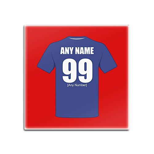 UniGift - Set von 4 Glasuntersetzern aus Leicester City (Fußballclub-Design, Farboptionen) - jeder Name/Nachricht auf Ihrem einzigartigen Matten-Pad - Die Füchse Blau Armee, Glas, rot, Quadrat