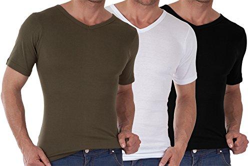 CELODORO Exclusive 3er Pack Herren V-Neck T-Shirt Feinripp Business T-Shirt Baumwolle einlaufvorbehandelt - Größen S-3XL Olive / Weiss / Schwarz