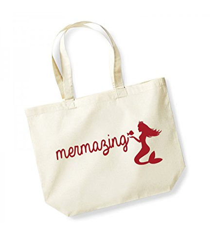Mermazing - Large Canvas Fun Slogan Tote Bag Natural/Red