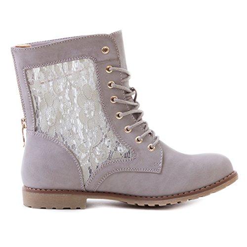Marimo24 Damen #Trendboot Stiefel Stiefeletten Worker Boots mit Spitze in hochwertiger Lederoptik Übergrößen bis 43 #Glitzer Grau