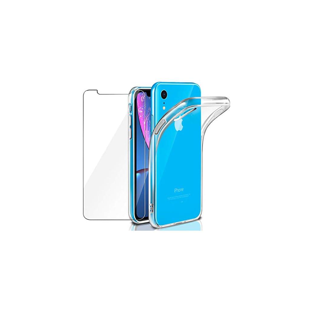Leathlux Cover iPhone XR Custodia + Pellicola Protettiva in Vetro