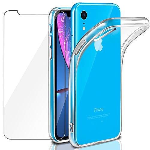 Cover iPhone XR Custodia + Pellicola Protettiva in Vetro Temperato, Leathlux Morbido Trasparente Silicone Custodie Protettivo TPU Gel Sottile Cover per Apple iPhone XR 6.1' (NON per XS MAX o XS)
