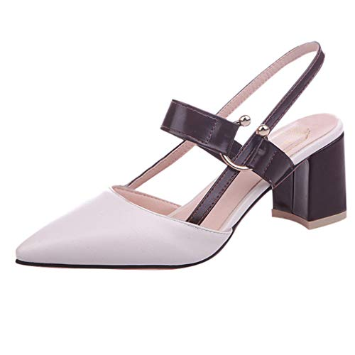 Damen Spitze Absatzschuhe mit Blockabsatz Pumps Slingpumps Mittelhohe Elegante Schuhe Bequem Frühling Sommer Sandalen Celucke (Beige, EU34)