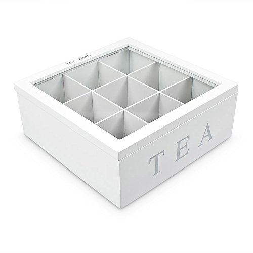Tea Box – Rectangular Madera té Caja 6 Compartimiento transparente
