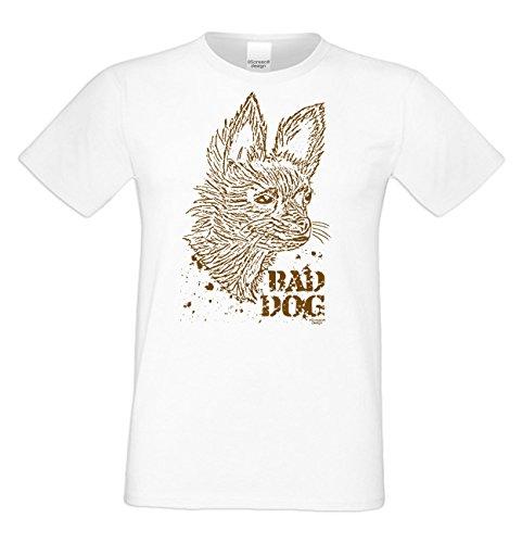 Modernes Herren Katzen-T-Shirt für Tier-Freunde als tolle Geschenk-Idee bis Größe 5XL / Katzenmotiv: Bad Dog Farbe: weiss Weiß