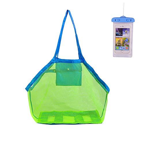 (KAKOO Große Mesh Strandtasche für Kinder Strand Schwimmen Spielzeug Lagerung + Wasserdichte Schutzhülle für Handy Weg von Sand und Wasser)