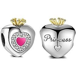 Abalorio de corazón con corona de mi princesa auténtica plata de ley 925 compatible con pulseras Pandora y todos los collares europeos