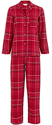 Ladies Winceyette Cotton Pyjamas 100% Brushed Flannel Wincy Collar Buttoned