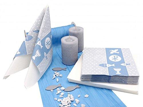 Tischdeko Kommunion Konfirmation Blau Weiß Grau Symbole SET 20 Personen Fisch