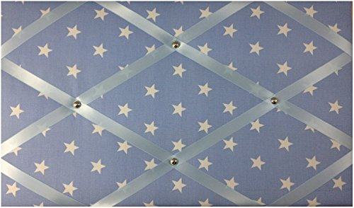 Notizwand/ Pinnwand weiße Sterne, Hellblau (White Ribbon Board)