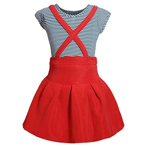 Lorraine Girl's Faux Georgette Top and Skirts (Red and White, 5-6 Years)