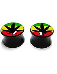 Cameleon-Shop-Pendientes de dilatador Plug-acrílico, diseño de hoja de Cannabis