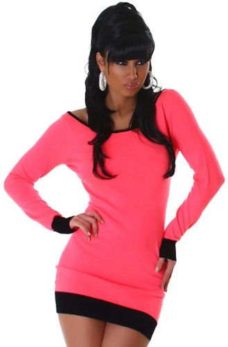 Jela london robe en tricot pour femme avec patte décorative avec boutons dans le dos Rose - Pink Schwarz