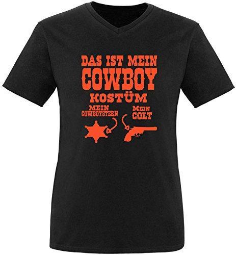 Luckja Das ist mein Cowboy Kostüm Herren V-Neck T-Shirt Schwarz/Orange