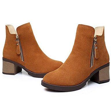 Scarpe da donna inverno in pelle inverno Chunky Heel Giallo Nero 3in-3 3 / 4in Yellow