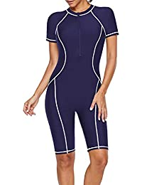 4e52300f4901e Elapsy Womens Zip Front Color Block Rashguard Short/Long Sleeve One Piece  Surfing Swimsuits