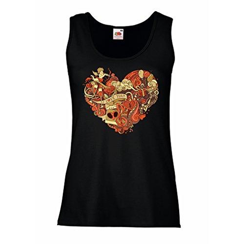 """Femme Débardeur Sans manche """"Cupidon arc et la fleche - Je t'aime"""" Noir Multicolore"""