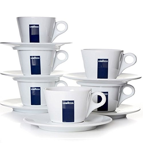 Lavazza Blu Collection Milchkaffee Tasse Konisch, 6er Pack, Kaffeetasse, Porzellan, Weiß, 250ml, 20002140 (Lavazza Tassen)