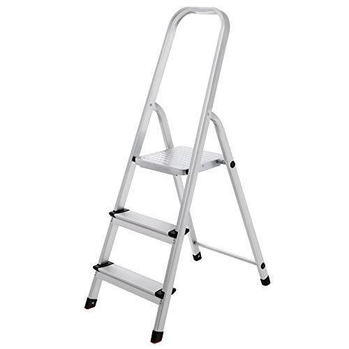 SONGMICS Escalera doméstica con 3 peldaños, Escalera de aluminio antideslizante, Escalera plegable, con Pasamanos, Carga máxima de 150 kg, Certificado TÜV SÜD GS según EN131, GLT03SV