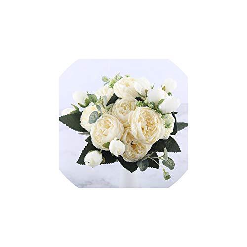 Eternity Bliss Künstliche Blumen 30cm Silk Blumenstrauß Fake Flowers für Heim Hochzeit Dekoration Innen, Weiss
