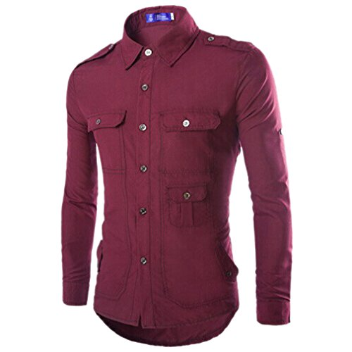 Honghu Homme Casual Slim Fit Manches Longues Plusieurs poches Chemise Vin rouge