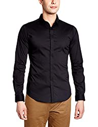 United Colors of Benetton Mens Casual Shirt (8903975331495_17P5SF16U008I100_Large_Black)