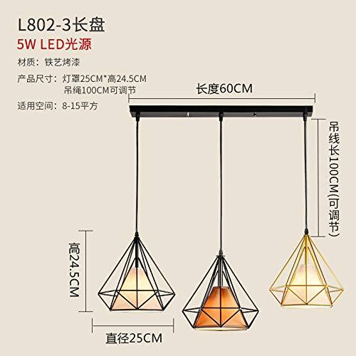 Schloss-loft (Restaurant Kronleuchter kreative Drei-Kopf-Loft-Beleuchtung Kunst drei lange Platte warmes Licht)