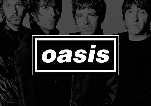 Oasis Logo with Band in Background A4 Poster