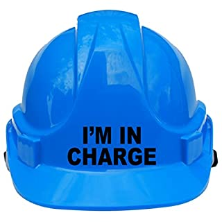 I'm in Charge Children, Kids Hard Hat Safety Helmet with Chin Strap One Size Adjustable Suitable for 4-12 Years -Blue