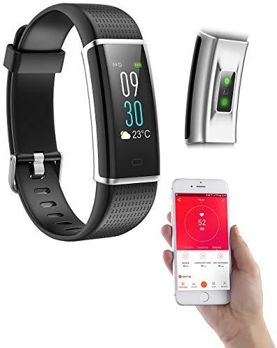 PEARL Fitness-Uhr wasserdicht: Fitness-Armband, GPS-Streckenverlauf, Puls, XL-Farb-Display, App, IP67 (Smart-Watch-Bracelet)