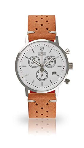 DETOMASO Milano Men's Wristwatch Chronograph Analogue Quartz Brown Racing Vintage Leather Strap White dial DT1052-B-843
