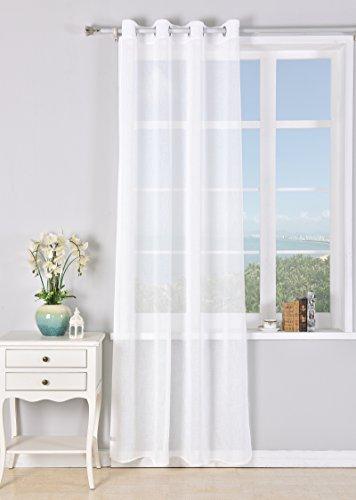 PimpamTex - Rideau Translucide 140x260 cm, avec 8 œillets pour le salon et la chambre à coucher, Modèle Matilda - Blanc