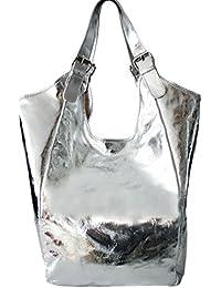 7e319dc990415 Sa Lucca echt Ledertasche Schultertasche Shopper Damentasche Handtasche SILBER  METALLIC