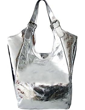 Sa Lucca echt Ledertasche Schultertasche Shopper Damentasche Handtasche SILBER METALLIC
