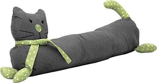 Türstopper Luftzugstopper Long Cat Stoff grau/grün gepunktet