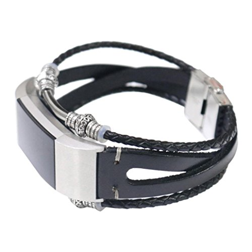 2 Herren-leder (samLIKE Ersatzarmband für Fitbit Charge 2 Echtes Leder Band Retro-Stil Armband für Herren Damen, 200MM, 7 Farben ( Schwarz))